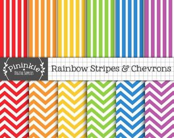 Chevron Digital Paper, Rainbow Digital Scrapbook Paper, Striped Paper, Instant Download, Commercial Use