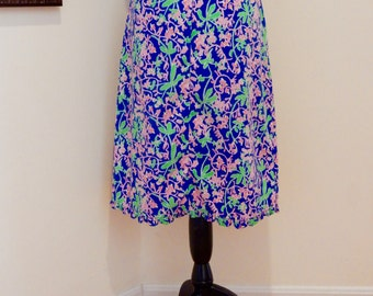 The Lilly 1960s Lilly Pulitzer Skirt Bright Blossoms & Vines Summery Breathable Cotton Blend Iconic Mod Casual Fab Feminine Sunny Day Wear