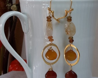 Rich, earth-toned multi-stone dangle earrings (heat treated chalcedony in amber and deep brown, rutilated quartz, hessonite garnet)