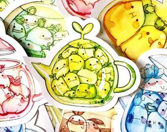 Hi bud teapot vinyl sticker set x3