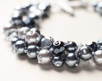 Grey Silver Wedding Jewelry Pearl Cluster Bracelet - Nightshade - LAST ONE