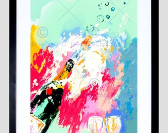 Painting Champagne Bottle Fizz Pop Bubbles Art Print Poster FEBB8527