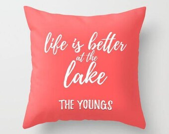 Life Is Better At The Lake Pillow Covers 20x20, Personalized Throw Pillow Covers 18x18, Decorative Pillows For Couch, 16x16 Pillow Cover