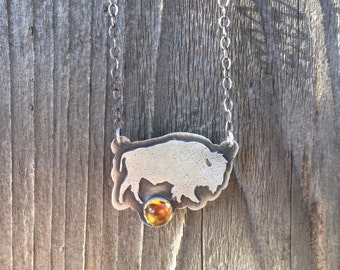 Bison Necklace Sterling Silver with Citrine gemstone - November Birthstone
