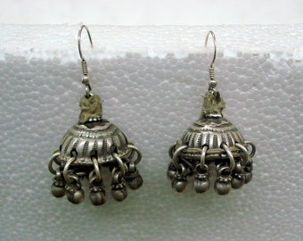 vintage antique tribal old silver dangle earrings gumka belly dance jewelry