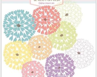 ON SALE flowers clipart, Digital clipart instant download flowers, heart firework flowers