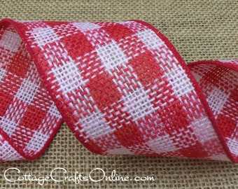 """Wired Ribbon, 2 1/2"""" Red and White Burlap Check, TEN YARD ROLL, d. stevens,  Natural Jute, Christmas, Valentine Wire Edged Ribbon"""