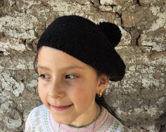 Alpaca beret - fair trade girls pom pom tam handknit in black chilean alpaca wool - Free Shipping on orders over 65 dollars!