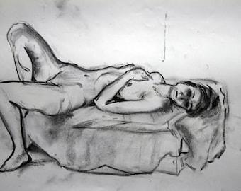 Daphne, lying nude