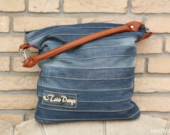 """Sewing pattern for the stylish """"Chobe"""" hand bag - ideal for upcycling an old pair of jeans"""