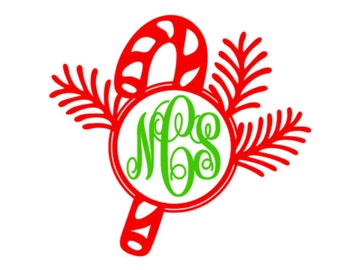 Custom Candy Cane Vinyl Decal, Christmas Monogram, Car Decal, Custom Holiday monogram vinyl decal sticker, personalized decal
