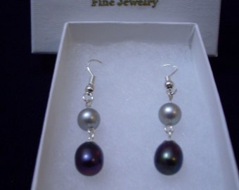 Sterling Silver Dove Gray and Black Pearl Double Dangle Earrings