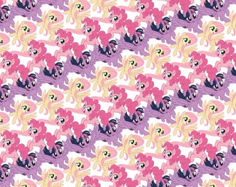 My Little Pony Fabric MLP Fabric Pony Stripes in White From Camelot 100% Cotton