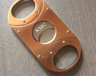 Personalized Cigar Cutter, Copper Finish Double Guillotine Blade Cigar Cutter, Groomsmen Gift,Engraved Cigar cutter, Anniversary Gift VCUT67