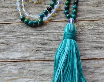 Moonstone and Chrysocolla Hand Knotted Mala - 108 Beads Mala