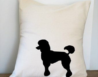 Poodle Pillow Cover Natural Color Canvas with Black Dog Shape 18x18 Inch Cover Made to Order