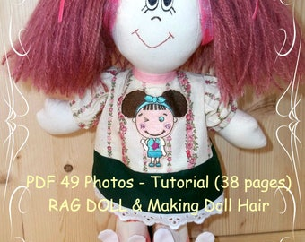 Doll Tutorial Instant Download PDF, Cloth Doll Pattern, Dress and decoration,  Hairstyle, How to make ponytails, 38 page-PDF book, 49 photo