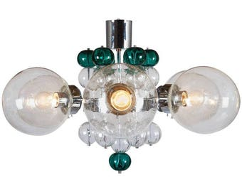 Stunning Large Chandelier with Handblown Glass Globes