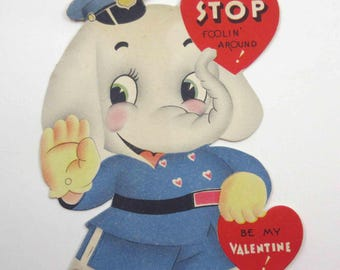 Vintage Children's Novelty Valentine Greeting Card with Elephant Policeman or Cop in Uniform