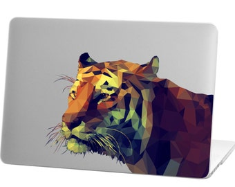 Macbook Pro 13 inch Rubberized Hard Case for model A1706 & A1708 with/without Touch Bar, Tiger Design with Clear Bottom Case