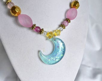 Fairy Kei Magical Girl Blue Crescent Moon Necklace