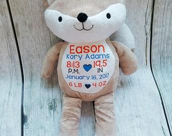 Fox Birth Announcement, Stuffed Animal Birth Announcement, New Baby Gift, New Mommy Gift, Nursery Decor, Birth Announcement, Baby Shower