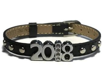 2018 Bracelet, Graduation Bracelet,  Studded Buckle Leather Bracelet Wristband With Silver Studs - 8mm Black Leather Wristband Strap