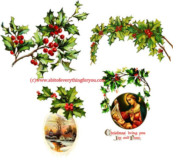 4 holly leaves christmas png jpg clipart printable art digital instant download image graphics for cards and crafts