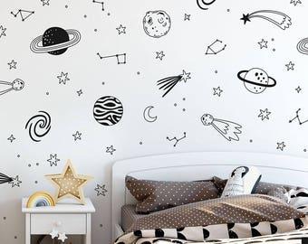 Space Wall Decals - Vinyl Decals, Nursery Decals, Star Decals, Planet Wall Decals, Kids Room Decor, Boy Nursery Decor, Girl Nursery Decor