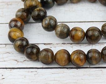 10 mm Tiger eye beads • Yoga mala stone beads • Tiger eye beads • Gemstone beads • Natural Tiger eye •
