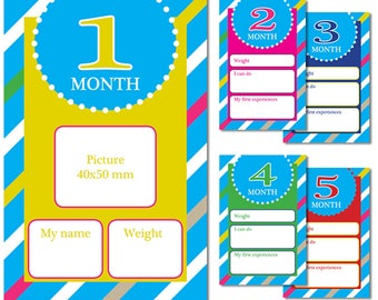 Baby development cards - 1 month - 5 month