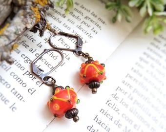 Boho Orange Earrings Autumn Earrings Mexican Earrings Cinco de Mayo Fiesta Earrings Boho Orange Jewelry Colorful Earrings Pumpkin Earrings