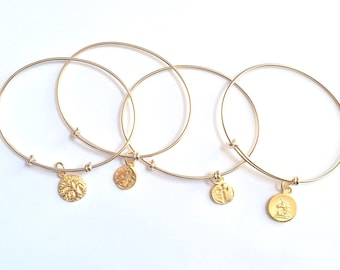 Adjustable Bangle Bracelet, Charm Bracelet, Mother's Bracelet, Mother's Day, Gold Bracelet, Charm