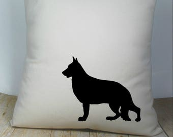 German Shepherd Pillow Cover Natural Color Canvas with Black Dog Shape 18x18 Inch Cover Made to Order