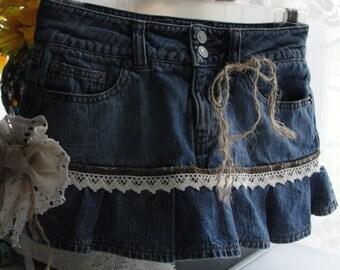 Denim jean skirt, jean skirt, mini skirt, upcycled jean skirt, lacey jean skirt, denim jean skirt, french chic