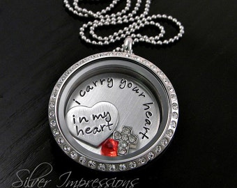 I carry your heart in my heart / Floating Locket / Personalized Hand Stamped Necklace