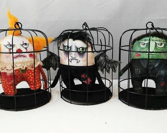 Bad Guys-art doll-cages-hand painted-painted dolls-decoration-monsters-OOAK-vampire-frankenstein-IT-villains-macabre-strange-freak