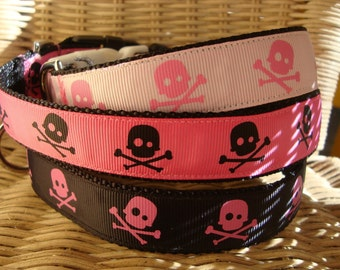 Skull Dog Collar Large Pink and Black Girl Colors