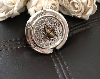 Bumble bee purse hook, bee gift, bumblebee purse holder, purse holder hook, purse hanger, bag hook, diaper bag holder, nautical gift