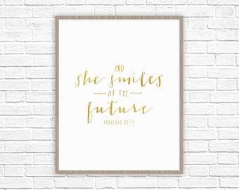 She Smiles at the Future Print | Proverbs 31 Woman Poster | Gifts for Wife, Mom, Sister, Grandma