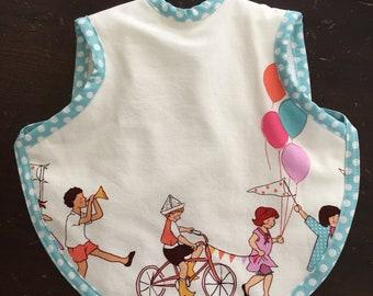 Bib, baby bibs, toddler bib, girl bib, baby girl, baby gift, Sarah Jane fabric, boy bib, bapron, tie bib, terry bib, waterproof bib,