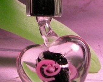 Heart Necklace Murano Lampwork Glass in Black, Pink and White: Perfect Gift