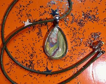 Ooak Handmade Teardrop Pendant with adjustable Olive Green Imitation Leather Cord