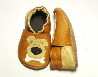Dog soft sole leather shoes, soft sole shoes, leather baby shoes, baby pre-walkers, soft soled baby shoes, baby slippers, toddlers moccasins