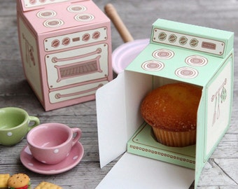 Cupcake Boxes and Inserts - Cupcake Holder - Party Favor Boxes - Pink Favor Boxes - Mint Green Favor Boxes Set of 10
