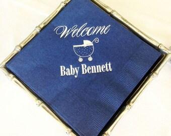 Custom Baby Shower Napkins - Set of 100, Personalized Napkins, Blue Baby Shower Napkins, Gender Reveal Party Napkins, Printed Napkins