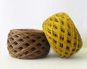 3ply  linen yarn, linen thread, crochet yarn, brown gold ocher color,  100 grams natural yarn