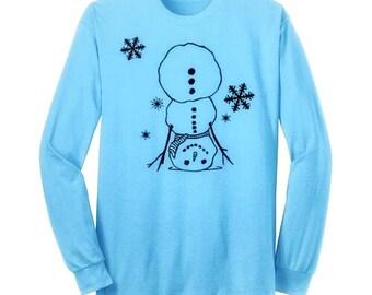 Handstand Snowman Gymnastics Shirt Gymnast T Shirt Winter Christmas Black Ink Long Sleeve Gymnast Shirt