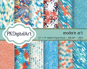 "Digital Paper - ""Modern Art""  Scrapbook Paper Backgrounds Design Projects Crafting Supplies"