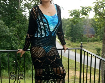 Hand Crochet Sexi Maxi Dress, Beach Dress, Urban Chic Dress, Long Crochet Dress, Beach Cover-up, Choose Your Color